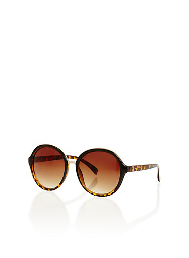 Round Two Tone Sunglasses,BLACK/TORT,large