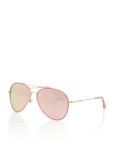 Colored Aviator Sunglasses,PINK,large