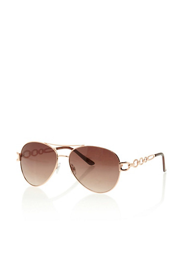 Aviator Sunglasses with Chain Link Arms,ROSE GOLD,large