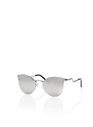 Round Cat Eye Sunglasses with Zig Zag Temple,BLACK,large