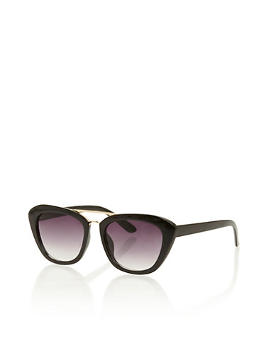 Cat Eye Sunglasses with Metallic Top Bar,BLACK,large
