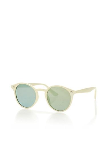 Round Mirror Sunglasses,WHITE,large