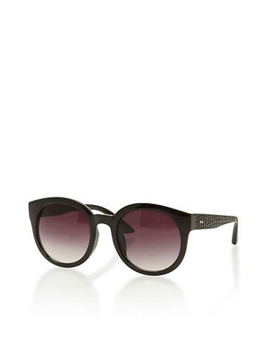 Embossed Round Sunglasses,BLACK,large