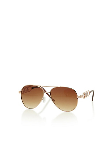 Aviator Sunglasses with Chain Link Accent,BROWN,large