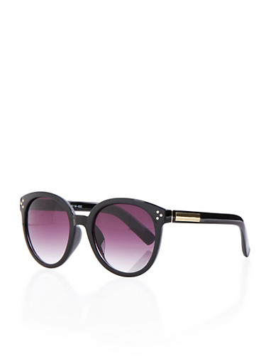Round Sunglasses with Metallic Accented Arms,BLACK,large