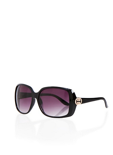 Square Sunglasses with Metallic Logo Accents,BLACK,large