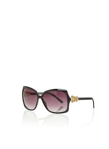 Oversized Square Sunglasses with Flower Accents,BLACK,large