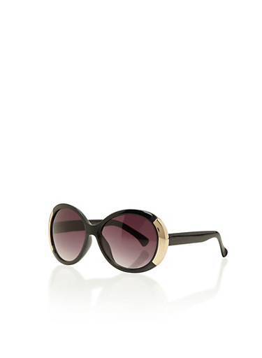 Round Sunglasses with Metallic Sides,BLACK,large