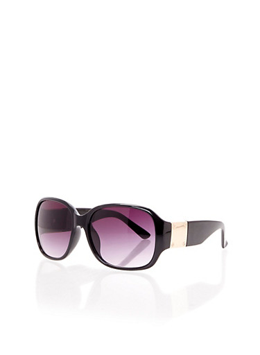 Wraparound Sunglasses with Metal Panels,BLACK,large