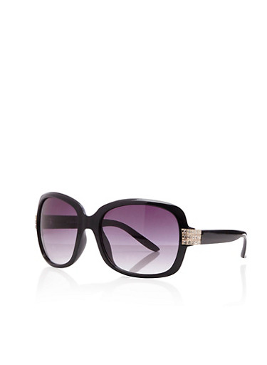 Square Sunglasses with Studded Panel,BLACK,large