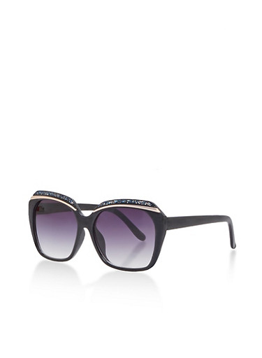 Oversized Metallic Brow Sunglasses,BLACK,large