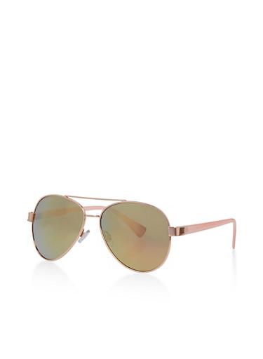 Aviator Sunglasses with Metallic Top Bar,ROSE,large