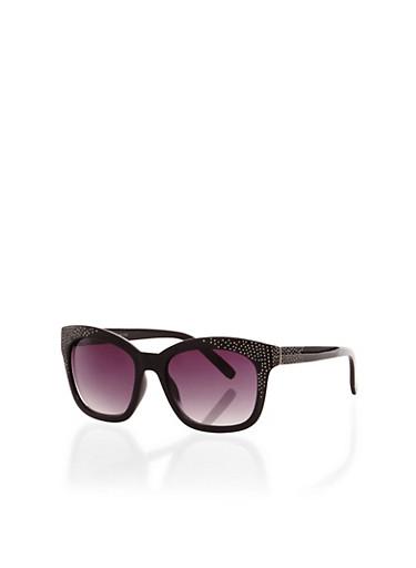 Studded Wayfarer Sunglasses,BLACK,large
