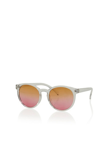 Round Lucite Sunglasses with Ombre Lenses,PINK,large