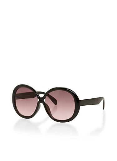 Oversized Round Sunglasses,BLACK,large