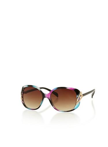 Multicolored Square Sunglasses,MULTI COLOR,large