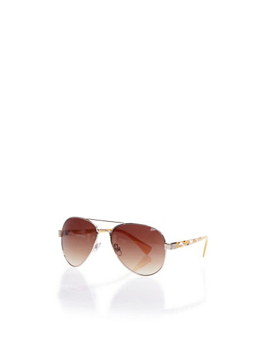 Aviator Sunglasses with Floral-Print Arms,GOLD,large