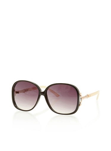 Oversized Square Sunglasses with Metal Accent,BONE,large