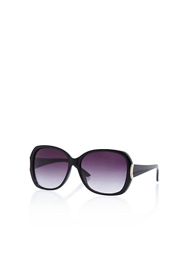 Square Sunglasses with Metallic Accent,BLACK,large