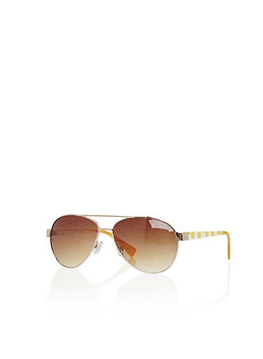 Top Bar Aviator Sunglasses with Pineapple Print,GOLD/WHITE,large