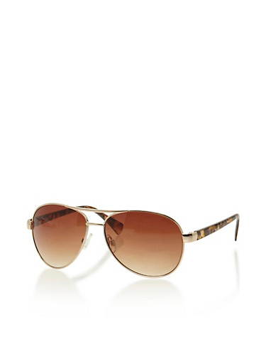 Top Bar Aviator Sunglasses,BROWN/TORT,large