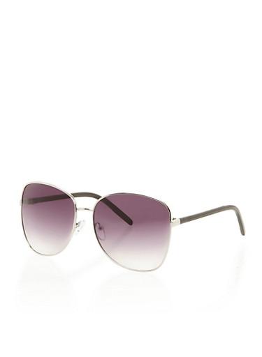Square Aviator Sunglasses,BLACK,large