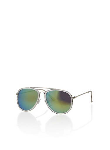 Lucite Mirror Aviator Sunglasses,GREEN,large