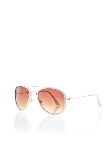 Colored Aviator Sunglasses with Metal-Trimmed Lenses,WHITE,large