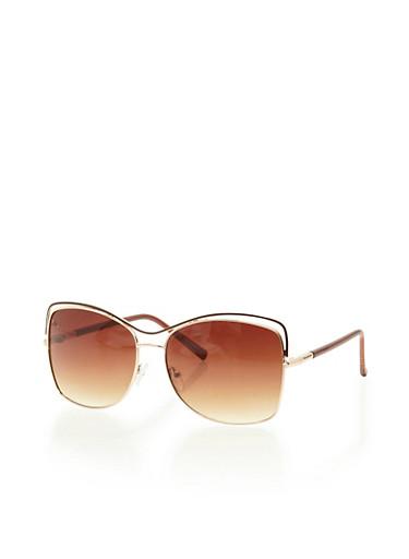 Cutout Square Aviator Sunglasses,BROWN,large