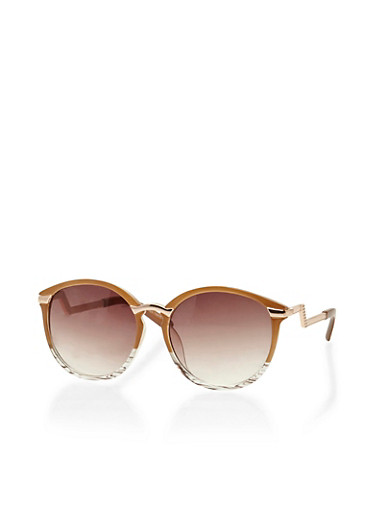 Two Toned Round Sunglasses with Metal Accents,BROWN,large