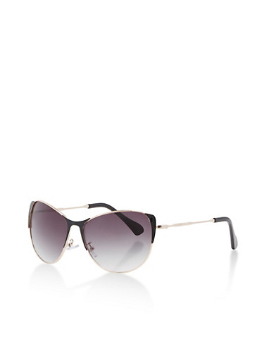 Mirrored Cat Eye Sunglasses with Painted Edges,BLACK,large