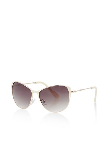 Mirrored Cat Eye Sunglasses with Painted Edges,IVORY,large