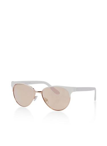 Colored Cat Eye Sunglasses,WHITE,large