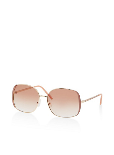 Square Sunglasses with Painted Edges,BLUSH,large