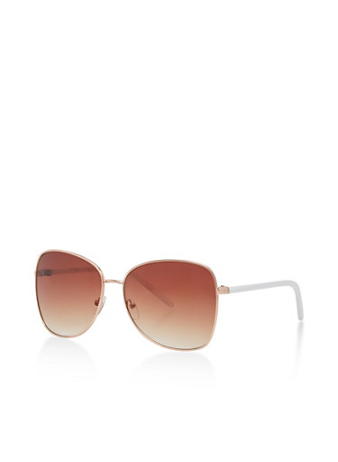 Square Metallic Aviator Sunglasses,WHITE,large