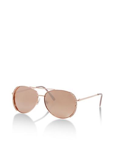 Aviator Sunglasses with Rhinestone Detail,ROSE,large