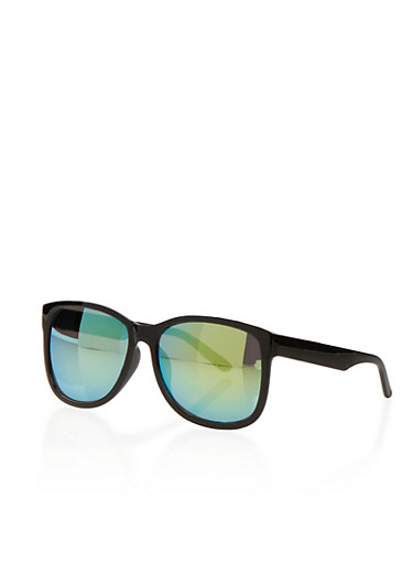 Oversized Sunglasses with Mirrored Lenses,BLACK,large