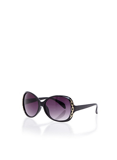 Square Sunglasses with Chain Embellishments,BLACK,large