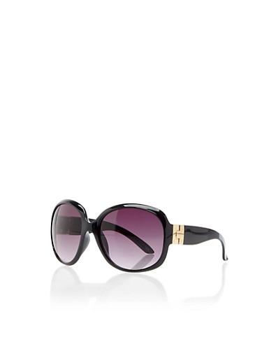 Oversized Wraparound Sunglasses with Hinge Accent,BLACK,large