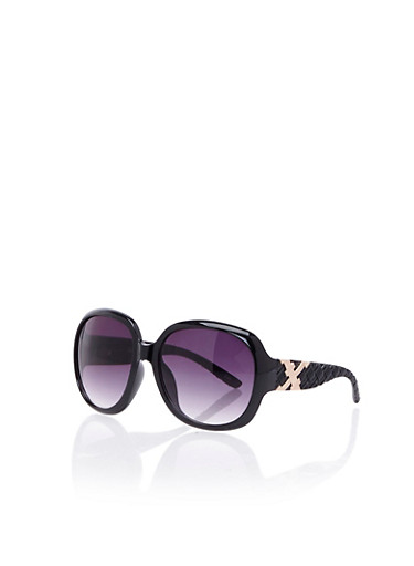 Oversized Round Sunglasses with Woven Arms,BLACK,large