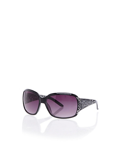 Square Sunglasses with Rhinestone Floral Arms,BLACK,large