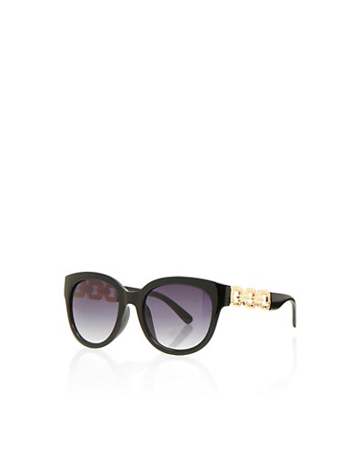 Sunglasses with Textural Metallic Chain Arms,BLACK,large
