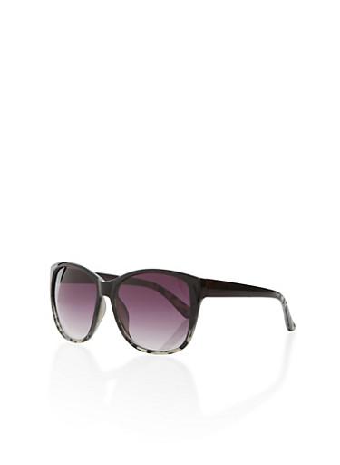 Round Two-Tone Sunglasses,BLACK/AMIMAL,large