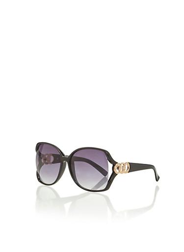 Oversized Square Sunglasses with Rhinestone Chain Corners,BLACK,large