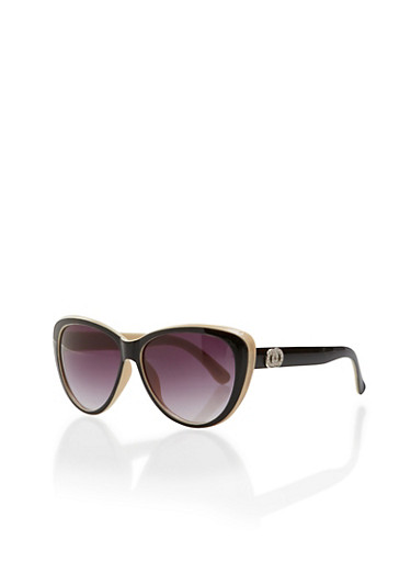 Oversized Sunglasses with Studded Circles,BLACK/CREAM,large