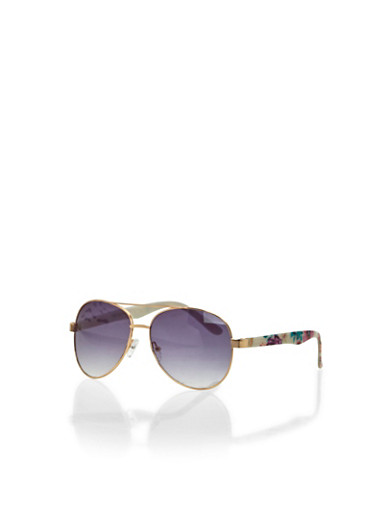 Aviator Sunglasses with Floral Print Arms,GOLD/GALAXY,large