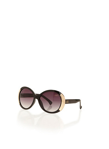 Round-Frame Sunglasses with Metallic Pieces,BLACK,large