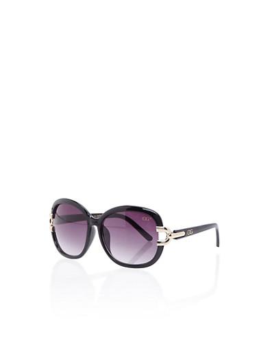 Square Sunglasses with Metallic Temples,BLACK,large