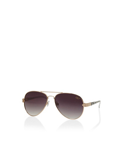 Metal Leopard Aviator Sunglasses,BLACK,large