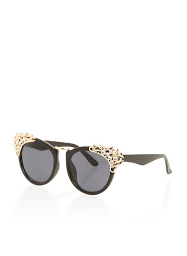 Round Sunglasses with Jeweled Corners,BLACK,large